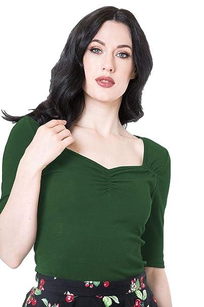 9faba7e27b1f95 Hell Bunny Philippa Vintage Style Jersey Top: Amazon.co.uk: Clothing