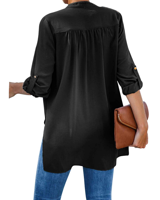 Style Dome chiffong blus 3/4 arm tunika blusar V-ringad elegant vardaglig skjorta skjorta topp 2-Svart