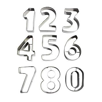 Niños Números 0 9 Alfabeto Letras Galletas Moldes Moldes para Formas de Acero Inoxidable Metal Galletas, Hornear Galletas, Fondant Tarta Decoración: ...