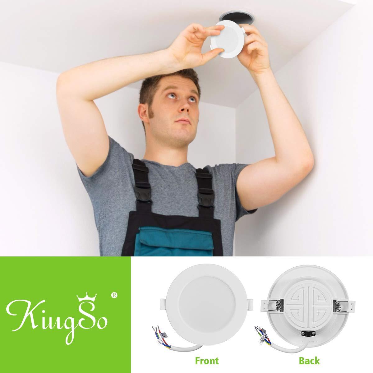 KINGSO 6 Pack LED Recessed Ceiling Spotlights Ultra-Thin IP44 7W 230V 90-120mm Warm White 3000K Beam Angle 120/° Spotlight Downlight Lighting for Bathroom Living Room Kitchen Energy Class A+