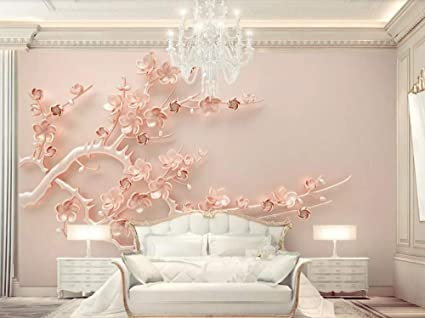 Wallpaper 3d Wall Mural Luxury Rose Gold Embossed Plum Branch 3d