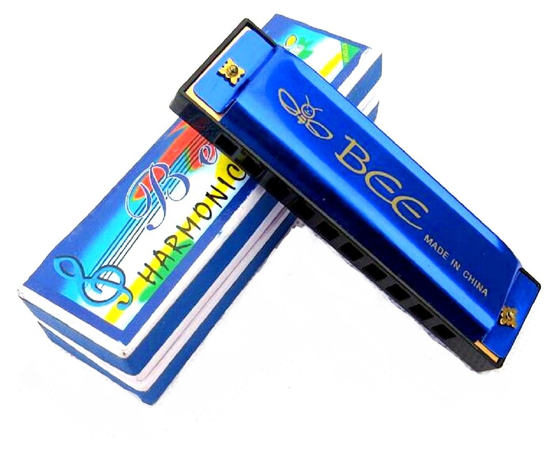 Diatonic Harmonica, 10 Holes Blues Harmonica, Key of C - Best for Kids and Beginners, Lightweight, Compact Blues Harp with Shiny Blue Color Finish, Premium Kids Harmonica in a Luxury Gift Packaging