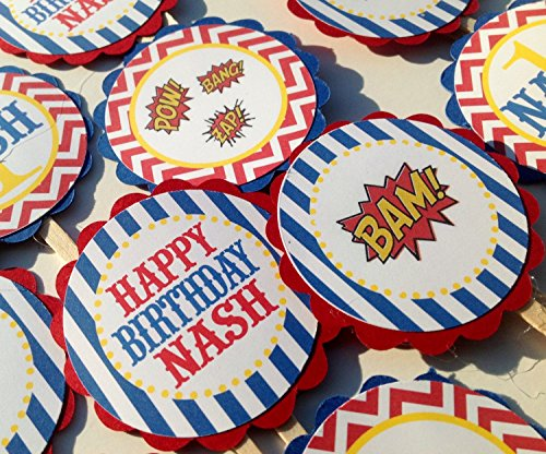 Hero Arts Cupcake (12 - Vintage Super Hero Happy Birthday Cupcake Toppers - Red Chevron Blue Stripes Yellow Accents - Party Packs Available)