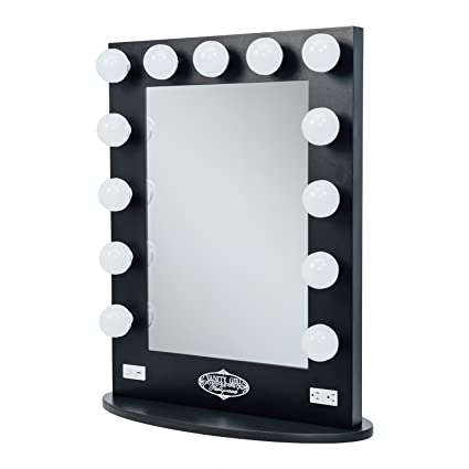 amazon com broadway lighted vanity mirror gloss black kitchen