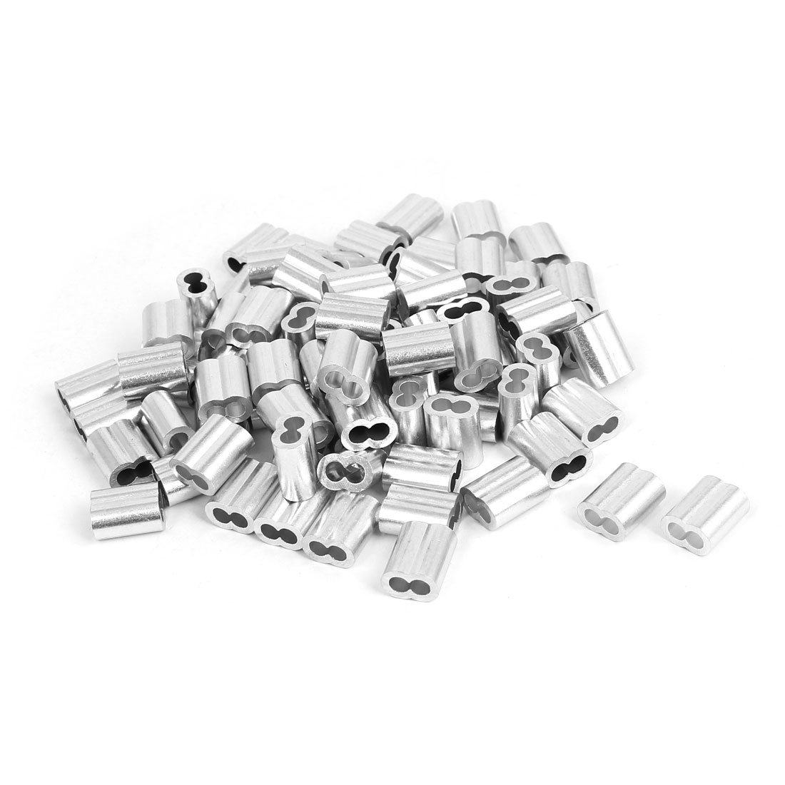 uxcell 4mm Aluminum Double Hole Clamp Clip Sleeve 100 Pcs for Wire Rope