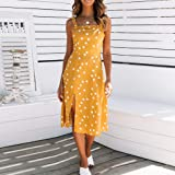 TnaIolral Women Dresses Sleeveless Dot Print Summer Party Midi Skirt Yellow