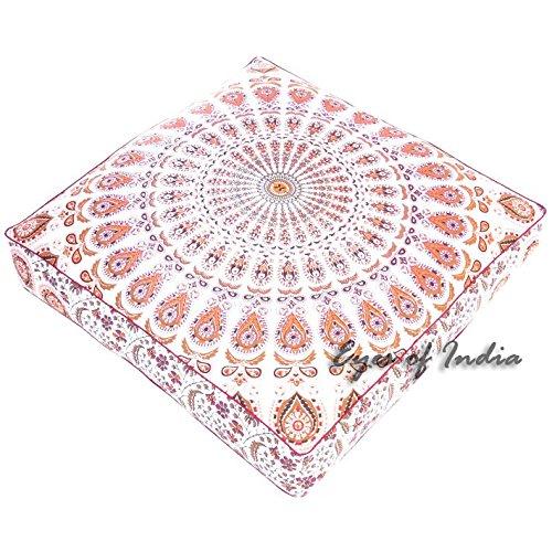 Eyes of India - 35'' White Orange Large Oversized Mandala Square Floor Pillow Cover Pouf Meditation Cushion Seating Hippie Colorful Decorative Bohemian Boho Dog Bed Indian Cover ONLY