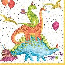 Entertaining with Caspari Partysaurus de papel Servilletas de cóctel, Multicolor, 1