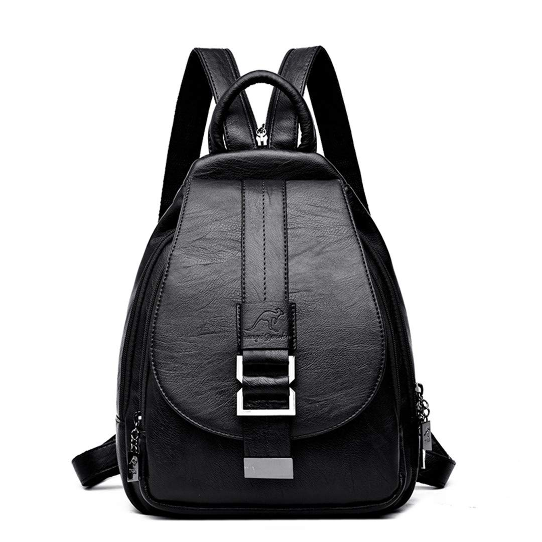 Women Leather Backpacks Shoulder Bag Ladies Travel Backpack School Bags Black