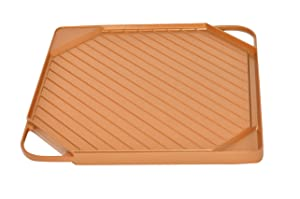Home-X - Copper Griddle & Grill Pan, Reversible Grill & Griddle is Non-Stick & Easy to Clean, Fits On Top of One Stove Burner for Quick Grilled Steak & Chicken or Delicious Pancakes