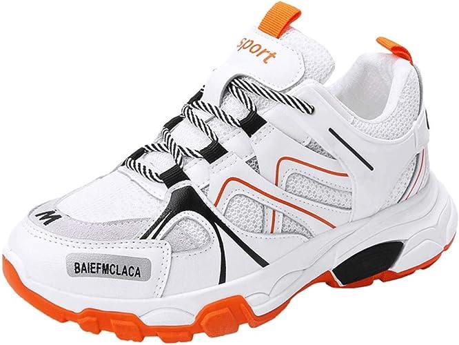Zapatillas de Deporte de Mujer Colores Mezclados con Cordones Zapatillas de Correr Suela Gruesa Plataformas Antideslizantes Zapatillas de Deporte Calzado para Caminar: Amazon.es: Zapatos y complementos