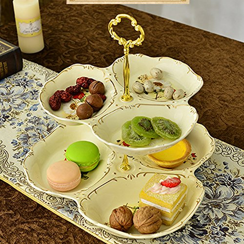 MiniInTheBox European Afternoon Tea. Multilayer Fruit. Disc Pastry all The Plate Ceramic 2 Layers of Dried Fruit Cake Plate Tray for Home Wedding Party Deco
