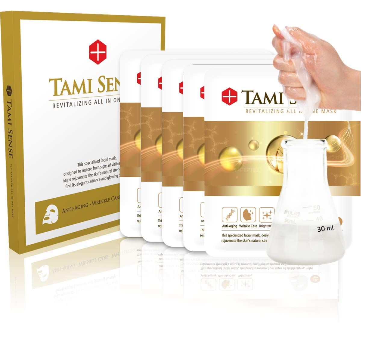 Korean Stem Cell Fermented Rice Extract EGF Essence Peptide Ampoule K Beauty Facial Tencel Mask Sheet-Instant Glow Effect for Dewy Skin, Anti Aging (Tami sense) by FAMENITY