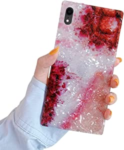 SUYACS Square Case Compatible with iPhone XR Pearl Crystal Glitter Gradient Red Slim Soft TPU Silicone Protective Bumper Ultra-Thin Anti-Fall Back Cover for Apple XR 6.1-inch