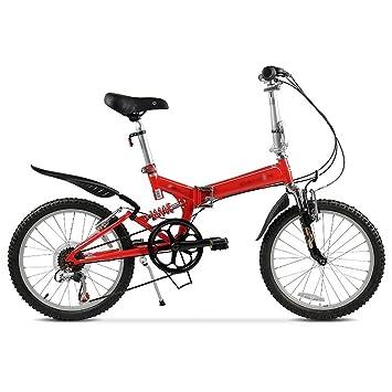 Bicicleta plegable de 20 pulgadas de velocidad variable bicicleta amortiguador adulto ciclismo (Color : Rojo