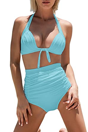 4a03bcf889e Amazon.com: WIWIQS Women's Stretchy Ruched Two Piece High Waisted Bikini  Sets Tummy Control Swimsuits Bathing Suit: Clothing