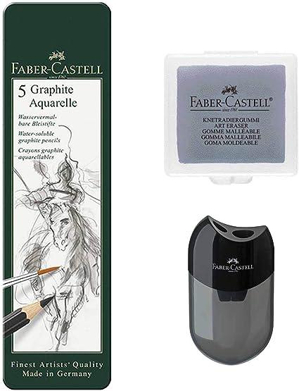 2B 8B durezza: HB 4B Faber-Castell 117805-5 matite acquerellabili Graphite 6B