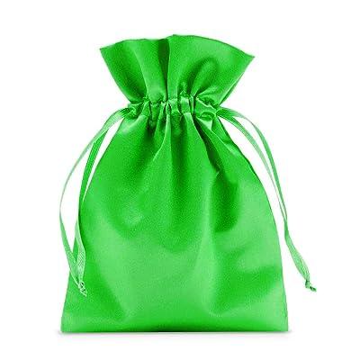12 Bolsas de satén, bolsitas de satén en colores brillantes. Tamaño 23x15cm, envoltorio elegante para regalos y joyas, calendario de adviento y pascuas (verde esmeralda): Juguetes y juegos
