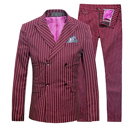 Mens 3 Piece Suits Pinstripe Double Breasted Slim Fit Formal Wedding Suits