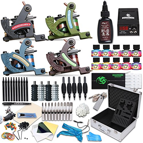 Price comparison product image Dragonhawk Complete Tattoo Kit 4 Standard Tunings Tattoo Machines Power Supply 10 Color Immortal Inks Kuro Sumi Black Ink 50 Needles Tips Grips with Case D139GD