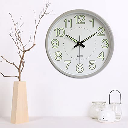 Jeteven 30CM Reloj de Cuarzo de Pared Luminoso Dormitorio Sala Reloj Simple Personalizado (Silver)