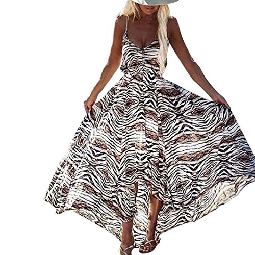 Caopixx Boho Dress, Women Irregular Boho Dress Summer V-Neck Leopard Sundress Sleeveless Long Maxi Dresses (Asia Size XL, Multicolor) (Jersey Dress Leopard Print)