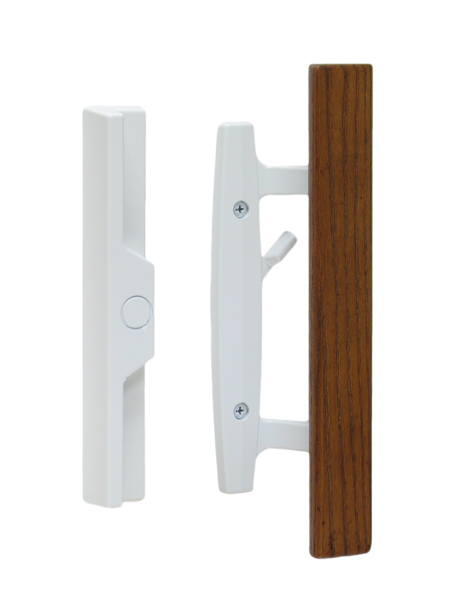 "Lanai Sliding Glass Door Handle and Mortise Lock Set with Oak Wood Pull in White Finish, Standard 3-15/16"" CTC Screw Holes, 1-3/4'' Door Thickness"