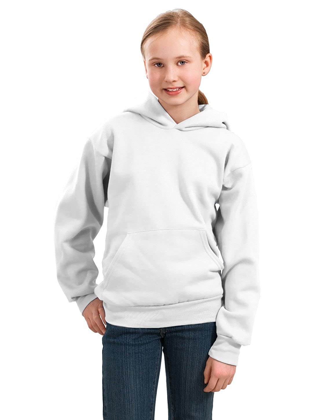White M Port /& Company PC90YH Youth Pullover Hooded Sweatshirt
