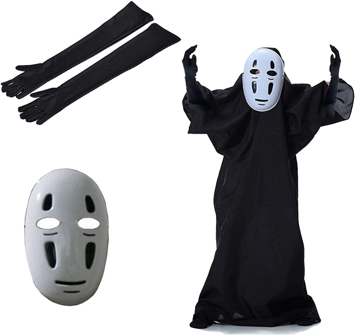 Idoxe Halloween Mask Spirited Away No Face Faceless Ghibli Mask Cosplay Anime Costume White Costume Kids 100 Amazon Ca Clothing Accessories
