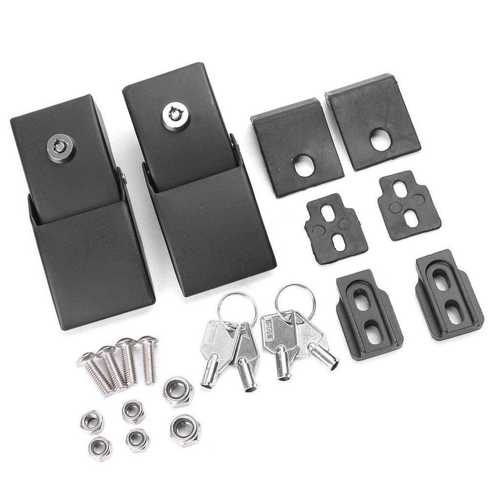 Rampage Products 76336 Locking Hood Catch Upgrade Kit for 2007-2018 Jeep Wrangler JK Pair Black Powder Coat