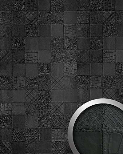 WallFace 15031 COLLAGE Wall panel leather 3D interior luxury wallcovering decoration self-adhesive black | 2,60 sqm by Wallface (Image #1)