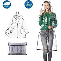 Qivange Raincoat Women Lightweight Emergency Clear Waterproof Rain Coat Jacket Reusable Rain Poncho with Belts Hood