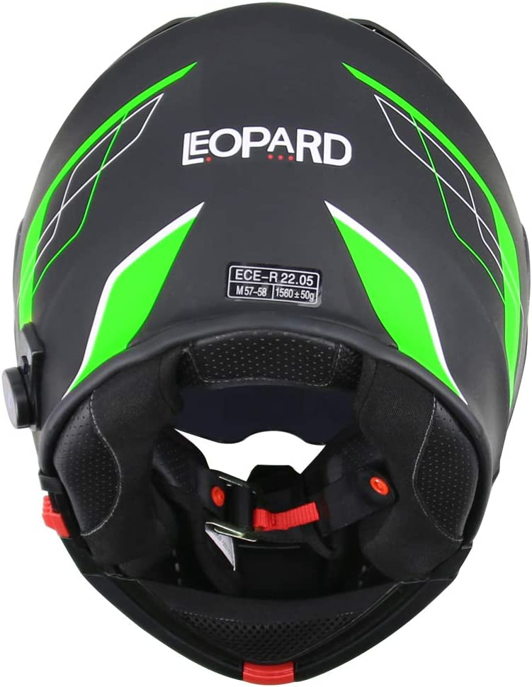 Leopard LEO-727 Visi/ère Anti-bu/ée Casque de Moto Modulable Bluetooth Casque int/égral ECE Standard Full Face Racing Casque de Moto Globale