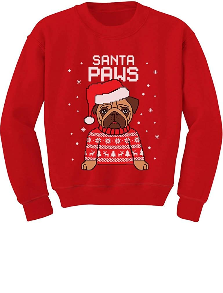 TeeStars - Santa Paws Pug Ugly Christmas Sweater Dog Toddler/Kids Sweatshirts 3T Red GtPtP30gf5Phf590o