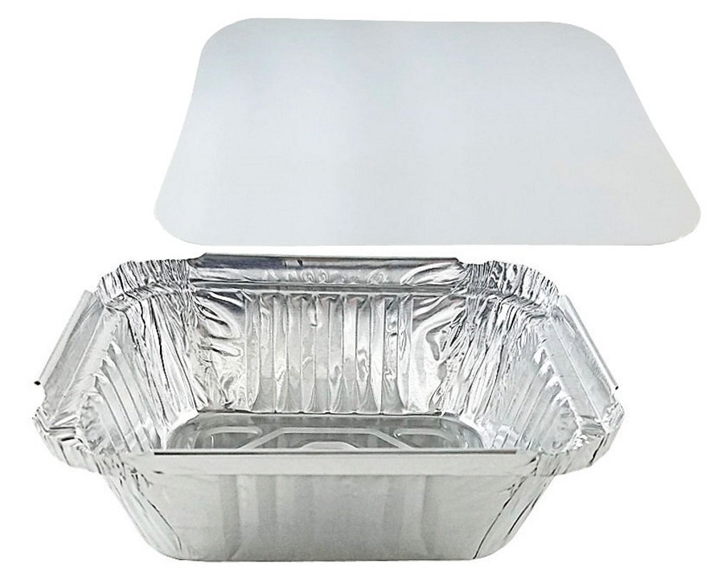 Pactogo 1 lb. Oblong Deep Aluminum Foil Take-Out Pan with Board Lid Disposable Containers 5.56'' x 4.56'' x 1.62'' (Pack of 50 Sets)