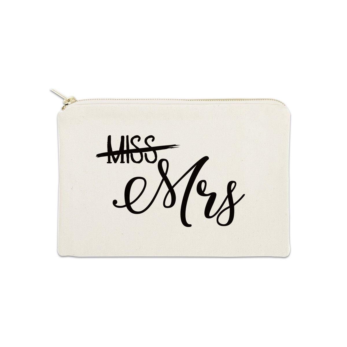 Miss Mrs Bride 12 oz Cosmetic Makeup Cotton Canvas Bag - (Natural Canvas)