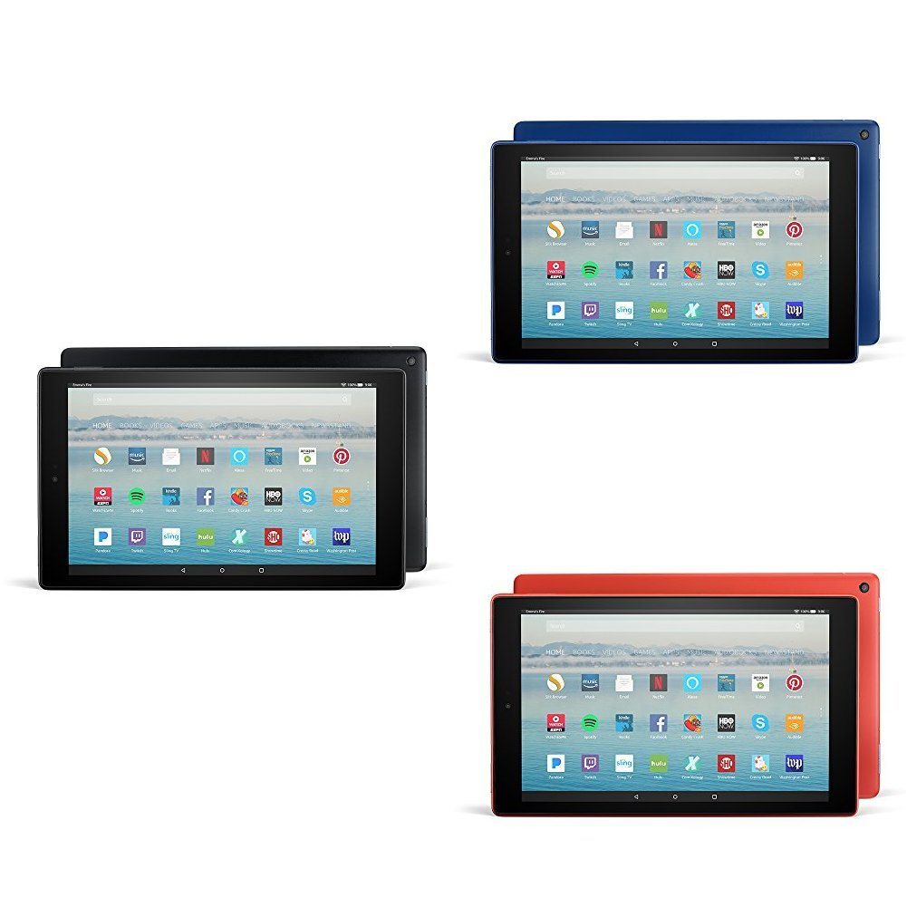 Fire HD 10 3-pack, 32GB - Includes Special Offers (Black/ Punch Red/Marine Blue)