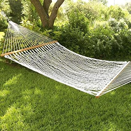 Inditradition Rope Hammock with Wooden Spreader Bars | for Single Person, 30 cm Wide (White)