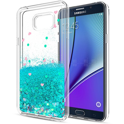Galaxy Note 5 Liquid Case with HD Screen Protector for Girls Women,LeYi Cute Design Shiny Glitter Moving Quicksand Clear TPU Protective Phone Case Cover for Samsung Galaxy Note 5 ZX Turquoise
