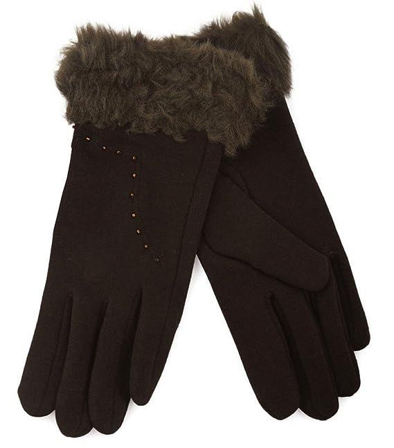 Traje de neopreno para mujer guantes de algodón de invierno para mujer de pelo sintético calentadores