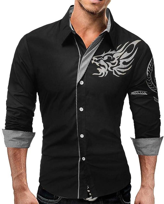 Yvelands Camisas de la Personalidad de los Hombres, Camiseta de Manga Larga de los Hombres Personalidad Hermosa, Moda Atractiva Negocio Ocasional Blusa Superior Liquidación: Amazon.es: Ropa y accesorios
