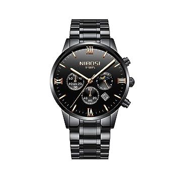 WULIFANG Sol Luna Fase Watch Relojes De Cuarzo Hombres Famosos Hombres De Moda Casual Ejército Militar Impermeable Reloj De Pulsera Negro-Rosa: Amazon.es: ...