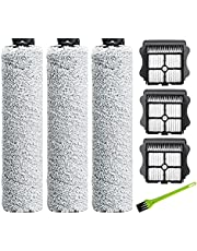 DrRobor Roller Brush Accessories for Tineco Floor One S3 iFloor 3 Cordless Wet Dry Vacuum Cleaner (3 Brush Roller Replacement + 3 HEPA Filter + 1 Cleaning Brush)