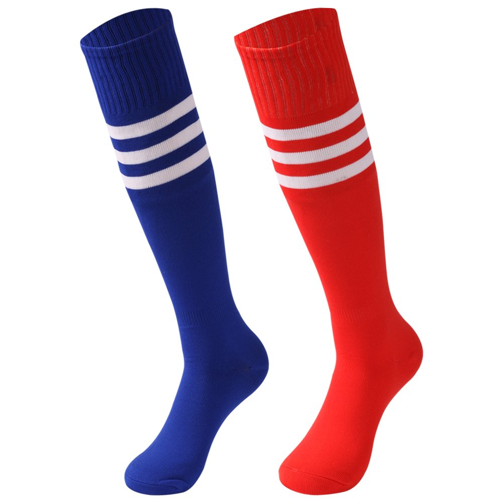 saounisi Adult Long Tube Socks,2 Pairs Knee High Socks Colorful Fashion Stripe Football Soccer School Team Sports Socks Size 9-13 Red/Navy by saounisi
