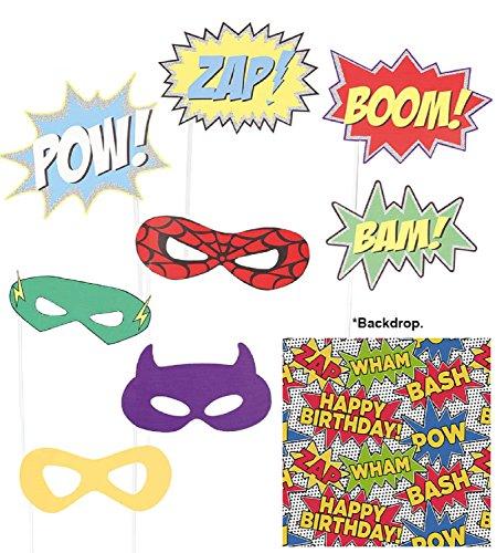 Girls Boys Unisex Birthday Super Hero Photobooth Props & Background Party Decoration Comic Book Fancy Dress -