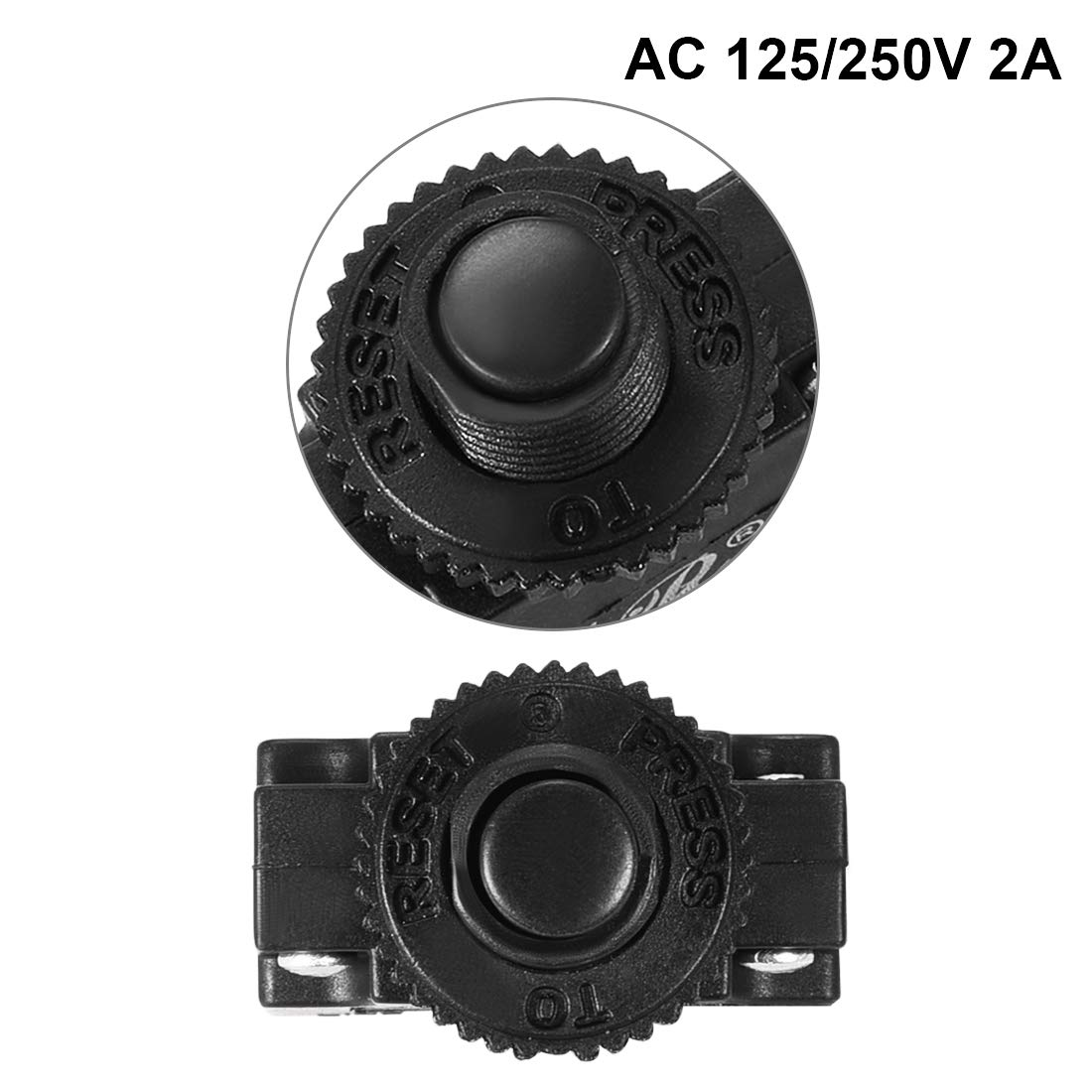 uxcell/® 2Pcs Thermal Overload Protector AC 125//250V 20A Push Button Reset Circuit Breaker