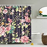 Floral Shower Curtain GWELL Red Rose Flower Pink Floral Print Waterproof/Mildew Resistant Polyester Fabric Shower Curtain with 12 Hooks (70.86X70.86-Inch, #9)