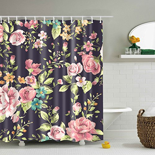 GWELL Red Rose Flower Pink Floral Print Waterproof/Mildew Resistant Polyester Fabric Shower Curtain with 12 Hooks (70.86X70.86-Inch, #9) Floral Curtain Fabric