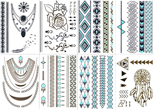 premium-temporary-metallic-tattoos-gold-silver-and-multi-colored-by-bg247r-style-2-8-sheets