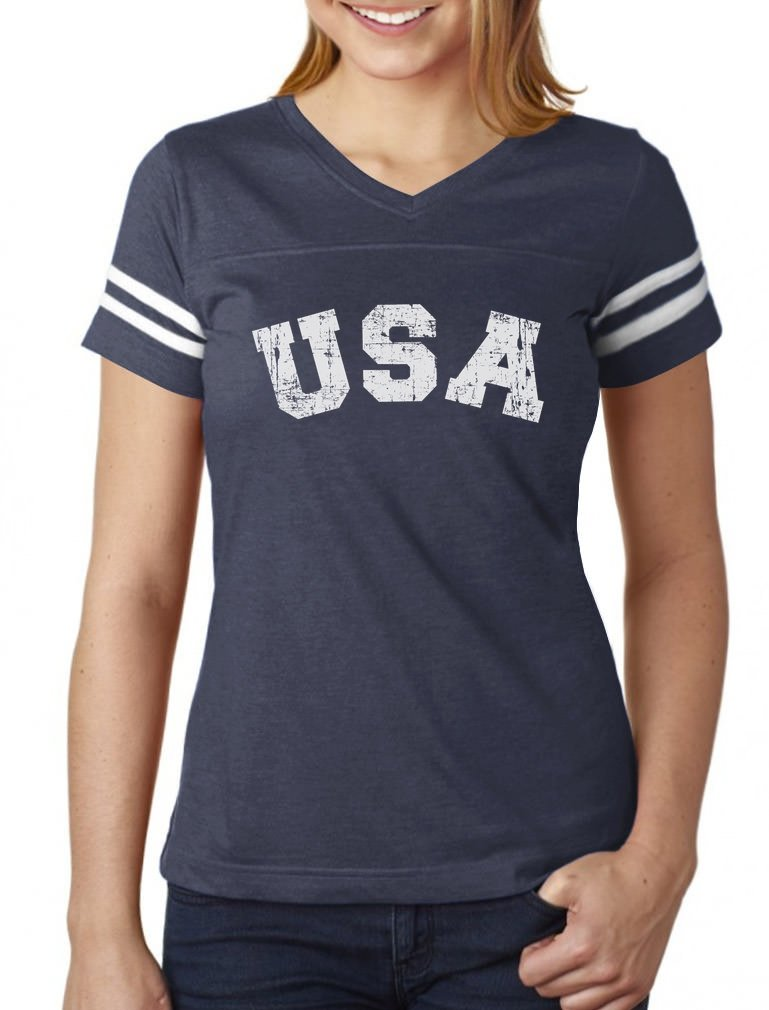 Galleon - 4th Of July USA Vintage Retro Style American Women Football  Jersey T-Shirt dac70ae29